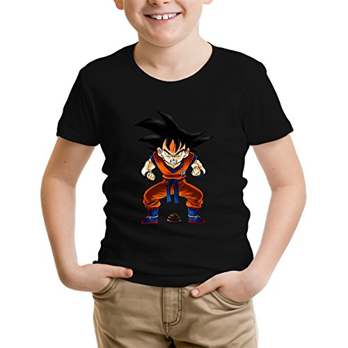 Okiwoki T-Shirt Enfant Noir Dragon Ball Z - DBZ parodique Sangoku : Super Caca - Vol.1 (Parodie Dragon Ball Z - DBZ)