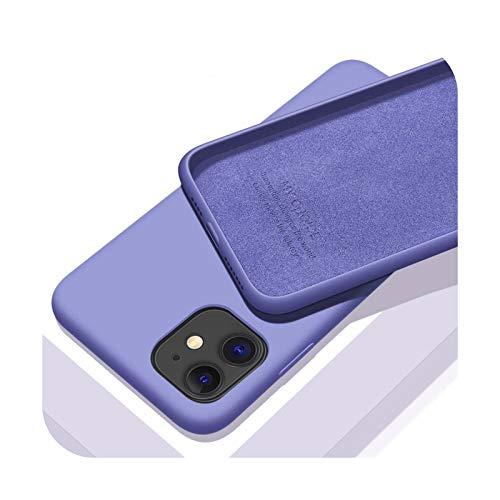 Funda de silicona líquida original para Apple iPhone 11 12 Pro Max Mini 7 8 6 6S Plus XR X XS MAX 5 5S SE a prueba de golpes - Púrpura - Para iPhone 12 Pro