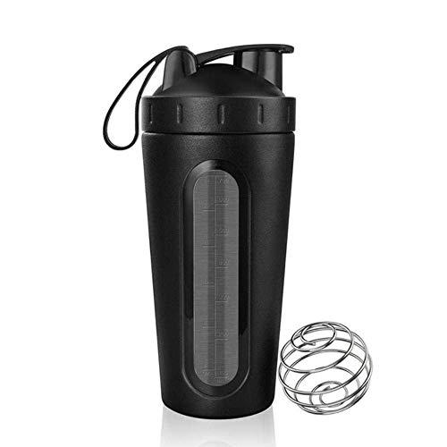 ZLYMY 26 oz Desmontable de proteína de suero en Polvo Botella de agitador Deportivo para Botellas de Agua Gimnasio nutrición licuadora Taza 304 Mezclador de Acero Inoxidable Nuevo, Plata