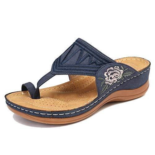 SHAIRMB Womens Flats, Frauen Komfort Toe Ring Slides Flip Flops, Leicht, rutschfest, VerschleißFest, Mehrere Farboptionen,Blau,42