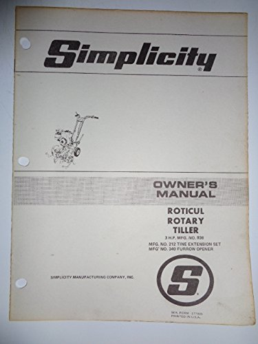 Simplicity Mfg. No. 936, 3 HP Roticul Walk Behind Rotary Tiller Parts, Operators Owners Manual 177905