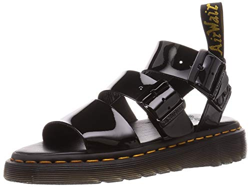 Dr. Martens Unisex Gladiator with Buckle Strap Sandal, Black Patent Lamper, 5 US Men