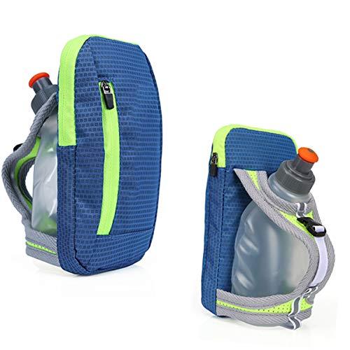 DEDC - Botella de agua con manos libres para correr, ciclismo, senderismo, camping, viajes, sistema de hidratación para corredores y atletas, color azul
