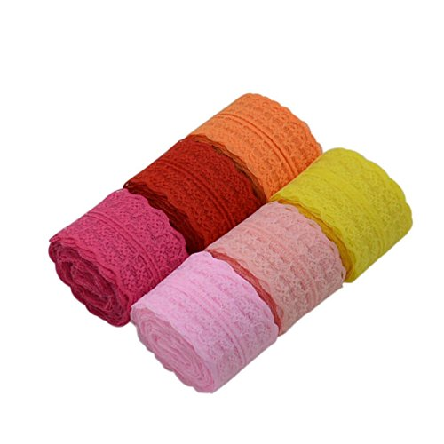 60 Yards 1.8 inch Wide 6 Colors Lace Trim Ribbon with Floral Pattern for Wedding Invitation Cards, Sewing, Gift Package Wrapping, Decorating, Inclduing 6 Rolls(10 Yards/Each Roll) (Mix Color-3)
