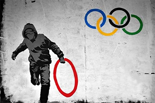 Banksy Hold Olympics Ring Posters Graffiti Art Abstract Canvas Print Painting Wall Art home decorations for living room Decorations70X100cm No Frame