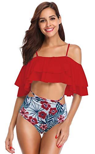 SHEKINI Bikini para Mujer Trajes de baño de Dos Piezas (S, Rosa Roja)