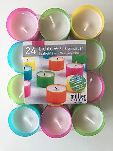 24 Teelichter SUMMERLIGHTS - in bunter Acrylhülle - Teelicht in Acryl-Cup - bunt