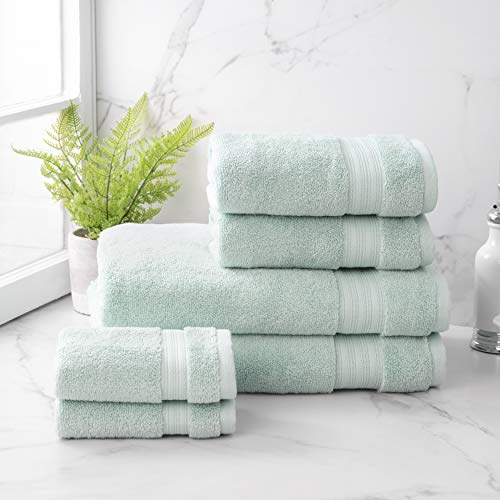 Welhome Cotton Rayon from Bamboo Bath Towel (Aqua) -Set of 6 -Soft & Fluffy -Highly Absorbent -Fade Resistant - Durable - Machine Washable - 2 Bath - 2 Hand - 2 Wash Towels