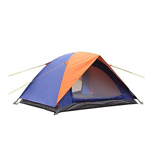 Kampeertent voor buiten Koepeltent Handige dubbellaagse dubbele tent met dubbele deur Bescherming tegen regen en zon Geweldig om te wandelen, backpacken en klimmen,Orange + blue