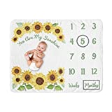Sweet Jojo Designs Sunflower Girl Milestone Blanket Monthly Newborn First Year Growth Mat Baby Shower Memory Keepsake Gift Picture - Yellow and Green Farmhouse Watercolor Flower You are My Sunhine