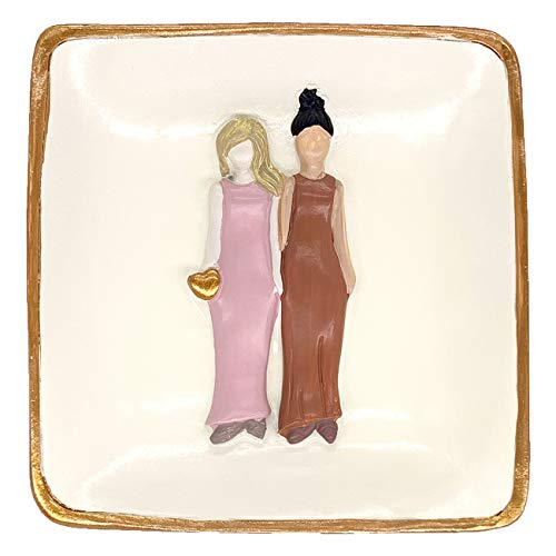 Agantree art Sister Gifts Friendship Gift Bestie Gift Ring Holder Dish Trinket Tray - Sister Birthday Gifts for Mom from Sister Best Friends
