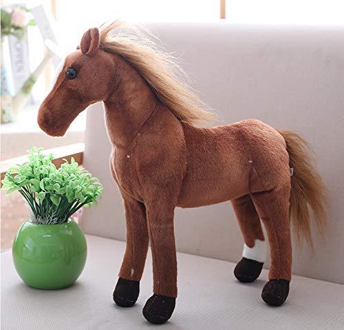 Simulación Caballo pony Pequeño Grande Grande Juguete de peluche suave KawaiiAnimales Halloween Navidad Regalos de cumpleaños para niños Niñas Niños 28cm Marrón oscuro