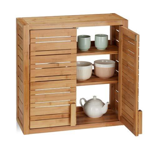 Relaxdays, Natur Wandschrank aus Bambus, 2 Türen, höhenverstellbare Einlegeböden, Quadrat Hängeschrank, HBT 56,5x56x21cm