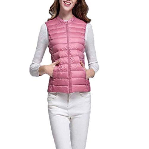 Women WUltra Light Jacket Autumn Winter Round Collar Sleeveless Coat Plaid Vest Waistcoat Pink XL