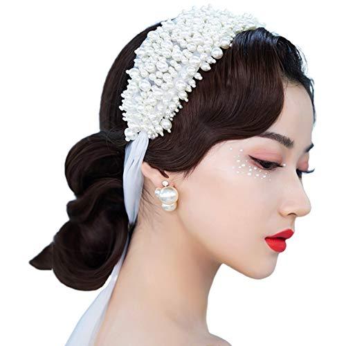 diademas,turbantes,bandas pelo,bodas,Navidad,4 piezas mujeres boda hecho a mano rebordear diadema ancha nupcial...