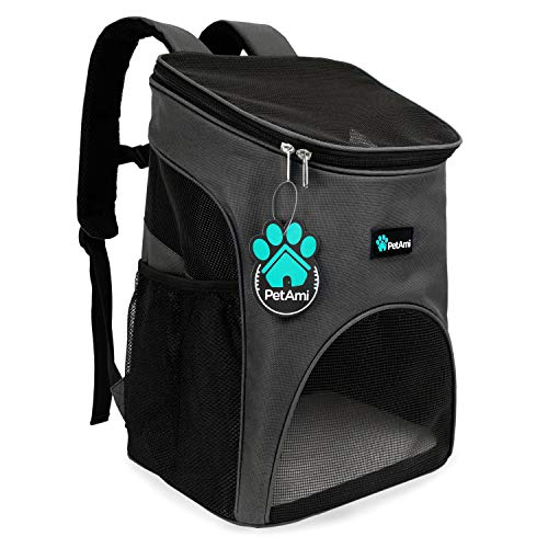 PetAmi Premium Pet Carrier Backpack for Small Cats and Dogs | Ventilated Design, Safety Strap, Buckle Support | Designed for Travel, Hiking & Outdoor Use (Gray)