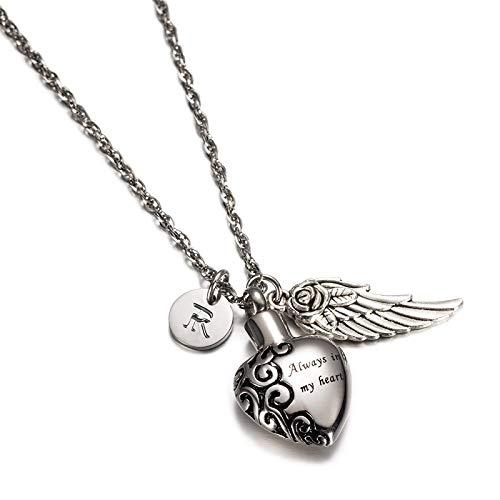 AnazoZ Colgante Cenizas Corazón Collar Plata y Letra Colgantes Cenizas Acero Inoxidable Collar Cenizas Recuerdo Collar Letra R