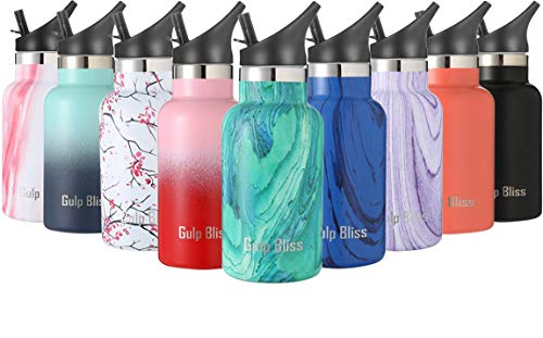 Gold Armour GulpBliss Double Wall Vacuum Insulated Stainless Steel Leak Proof Sports Water Bottle, Narrow Mouth with BPA Free Slip Free (Pattern: Bora Bora, 12oz)