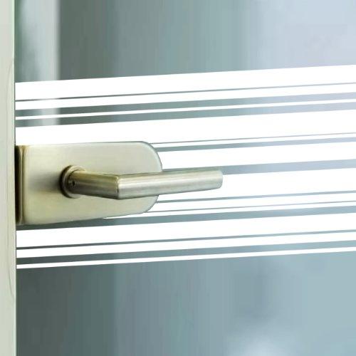 Milchglasfolie mit Streifen 200x75cm,Glas- und Fensterfolie selbstklebend, Klebefolie weisse Streifen, Sichtschutzfolie, PVC frei, lebensmittelunbedenklich
