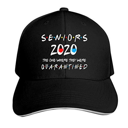Seniors 2020 Where They were Quarantined 100% Cotton Sandwich Hat Adjustable Baseball Cap Black