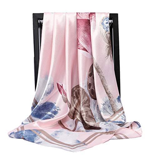 YANFEN neues Muster Seidenschals Frauen Lotus Print Square Head Hijab Schal Damen Schals 90cm Bandana weiblicher Mufflon Poncho