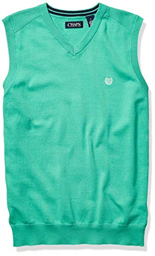 Chaps Men's Cotton V-Neck Sweater Vest, Key West Green, L