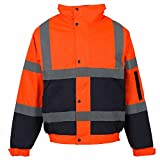 Jaqueta de trabajo MyShoeStore®, de alta visibilidad, con capucha, talla S a 4XL Orange Navy / 2 Tone X-Large