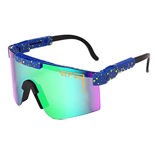 Tletiy Gafas de Sol Pit-Viper, Marco TR90 espejado polarizado Doble Ancho Hombres y Mujeres UV400 Gafas de protección Prueba Viento Gafas Sol polarizadas Pesca Deportiva Golf Béisbol Correr
