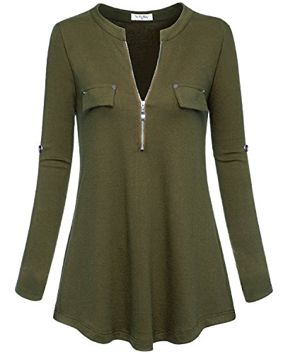 YaYa Bay Work Blouses, Stylish XL Olive Green Half Sleeve Zip V Neck XL Green Tunic Blouses Chic Fake Pocket Fitted Flowy Henley Shirts Casual Blouses