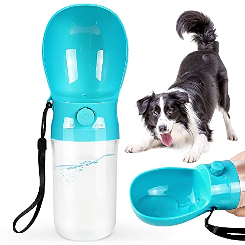 SIDINIC Dog Water Bottle, 12 OZ Leak Proof Portable Dog Water Bottle, Drop-resistant Durable Food Grade Plastic Travel Dog Water Dispenser for Dogs and Cats Pet Outdoor Travel