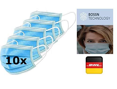 10x Mundschutz, 10er Pack, Einweg 3-lagig Gummizug Atemschutzmaske Staubschutz Maske EN14683, Hersteller BOSSN @ DECADE Atemmaske Mundschutz Gesichtsmaske