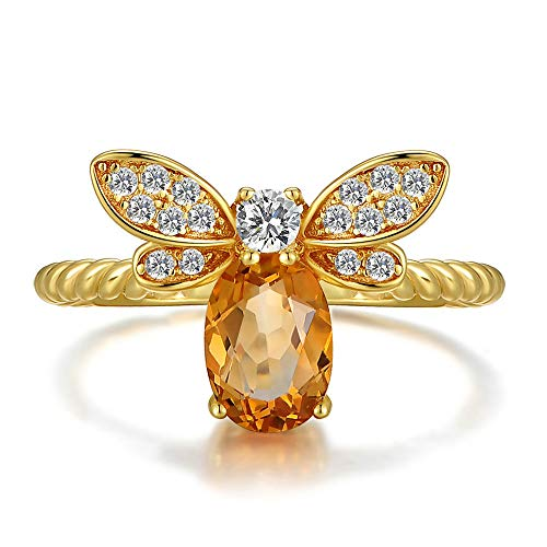DFVVR Womens Rings, Natural Yellow Crystal Honey Bee Ring Opening Adjustable, Ladies Jewelry & Watches Gift for Valentine's Day Mother's Day Birthday
