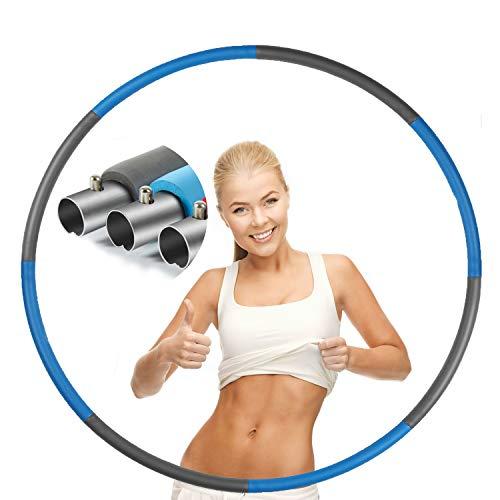 CakCity Hula Hoop Reifen Erwachsene Rostfreier Stahl Fitnessreifen, Gewichten Einstellbar Durchmesser 95 cm für Abnehmen/Massage/Fitness/Training ca1,0 kg