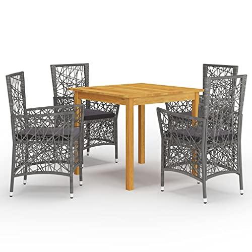 vidaXL Gartenmöbel Set 5-TLG. Sitzgarnitur Sitzgruppe Gartengarnitur Gartenset Tisch Stühle Esstisch Gartenstuhl Gartentisch Sessel Grau