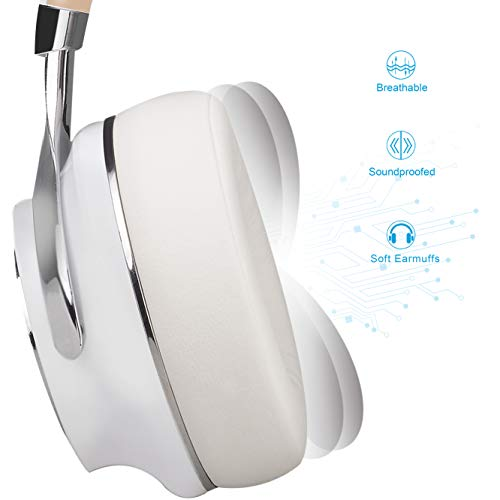 Bluetooth Headphones, Riwbox XBT-880 Wireless Bluetooth Headphones Over Ear with Microphone and Volume Control Wireless and Wir   ed Foldable Headset for iPhone/iPad/PC/Cell Phones/TV (White