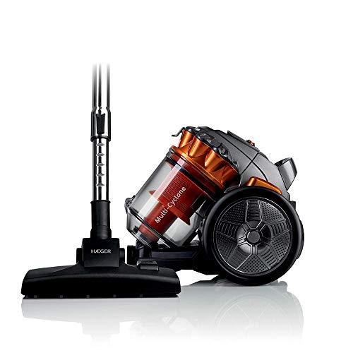 HAEGER MAX CYCLON - Aspirador sin Bolsa con 700W de Potencia, Capacidad de 3L - Filtro de plástico con Sistema de filtrado multiciclónico, Tubo Flexible com rotación de 360º.