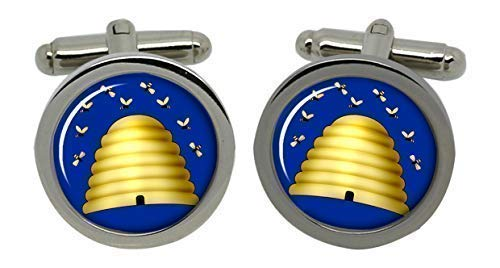 Hive Boutons de manchette pour homme avec symbole maçonnique Chromé-Coffret cadeau