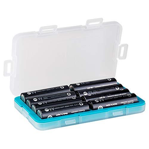 JJC Caja de batería a prueba de humedad Baterías Caja de almacenamiento Organizador para 8 pilas AA o 14500 batería recargable, soporte de la batería