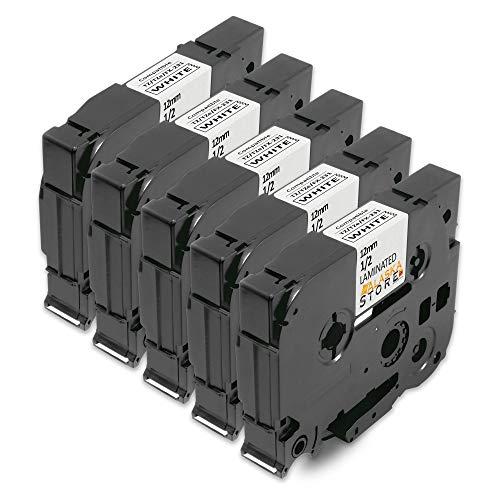 5x kompatible Farbband Tape Schriftband als Ersatz für TZ231 TZE231 TZ-231 TZE-231 tze-fx231 tzefx231 AZE-231 AZE231 12mm Schwarz auf Weiß für Brother P-Touch 1000 1010 1080 1090 1200 1200P 1230PC 1250 1280 1290 1750