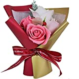 MINENA Artificial Flowers Gift&Crafts Soap Flower Bouquet Substitutes for Fresh Flowers with LED Decorative String Lights Present for Anniversary Wedding Birthday Valentine's Day Mother's Day(Red)