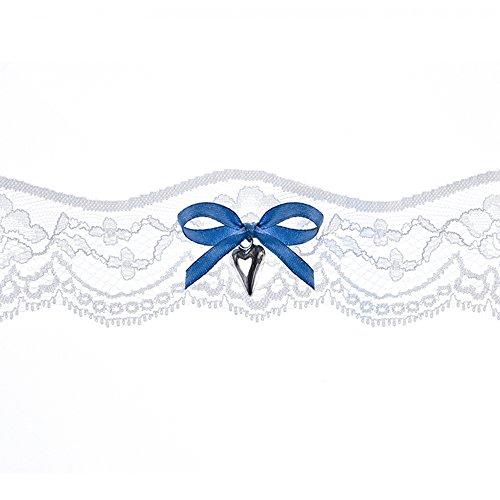 Strumpfband Spitze mit blauer Schleife und silbernem Herz Hochzeit