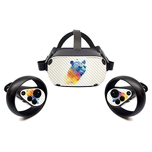 MightySkins Carbon Fiber Skin for Oculus Quest - Sunny Bear   Protective, Durable Textured Carbon Fiber Finish   Easy to Apply, Remove, and Change Styles   Made in The USA (CF-OCQU-Sunny Bear)