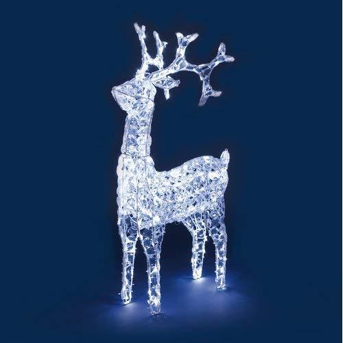 NEFFY SHOP Reno con Cristales, Cabeza giratoria, 200LED Blanco frío, 90cm de Altura, Personas navideños Luminosas, Figure Luminosas 3D