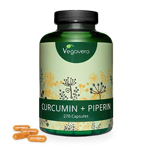CURCUMA e PIPERINA Vegavero® | 270 capsule | Con 95% di Curcumina e...