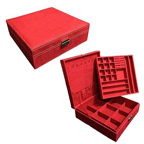 SMEJS Joyero Estuche de almacenamiento de felpa Doble capa apilable Organizador de joyas con cerradura Organizador de compartimento extraíble para pendientes Collares Anillos Relojes 26 * 26 * 9C