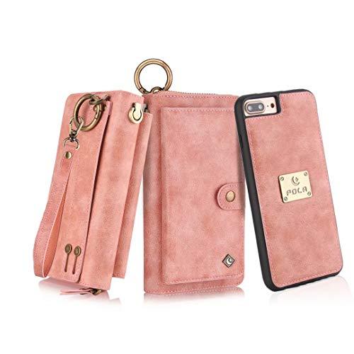 Petocase Compatible iPhone 8 Plus Wallet Case, Multi-Function Zipper Purse Detachable Magnetic Wristlet 13 Card Slots & 4 Cash Protective Cover for Apple 5.5' iPhone 8 Plus/7 Plus/6s Plus/6 Plus Pink