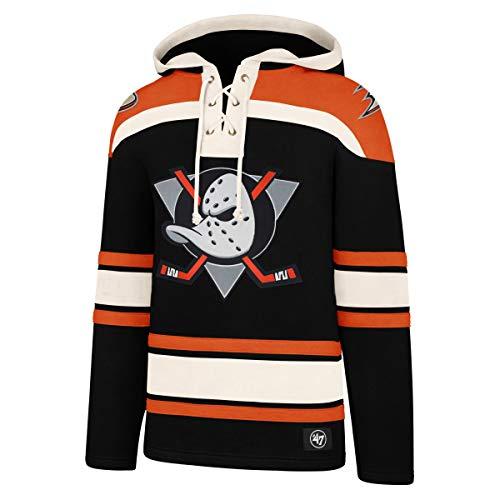 \'47Brand NHL Anaheim Mighty Ducks Lacer Logo Hoody Hooded Sweater Pullover Sweatshirt (M)