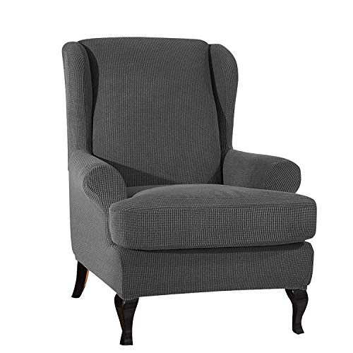 VanderHOME Stretch Sofabezug Ohrensessel husse ohrensessel bezug 1 Sitzer Stretch und antirutsch Sesselhusse Stretch sesselhussen Sessel bezug husse für ohrensessel dunkelgrau