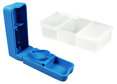 COM-FOUR® tablet box set - mini tablet box met drie vakken en tabletverdeler - transporteerbare medicijnbox - pillendoos - medicijndoseerapparaat (Doos + verdeler)