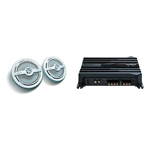 Sony XS-MP1621 - Altavoz para vehículo Marino (2 x 80 W, 6.5'), Color Blanco + XM-N502 - Amplificador estéreo para vehículos (2/1 Canales, 500W), Negro